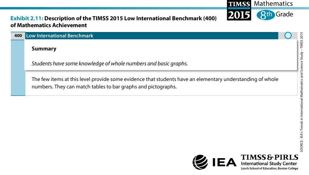 Low International Benchmark Grade 8 Description